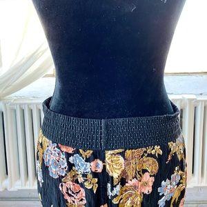 Vintage Black Floral Lounge Jogger Boho Pants